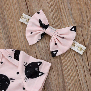 This baby cat onesie comes with a matching bow tie handband
