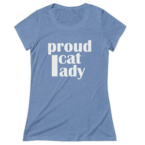 "Cat lady shirt featuring the print ""Proud Cat Lady"" in white across the front"