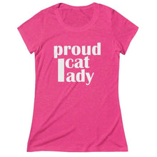 "Load image into Gallery viewer, Funny cat lady shirt with the print ""Proud Cat Lady"" across the front"