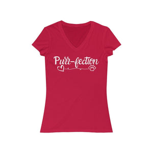Funny T-Shirt for Cat Lovers Decorated with the Word Purrfection a Paw Print and a Heart Printed On the Front