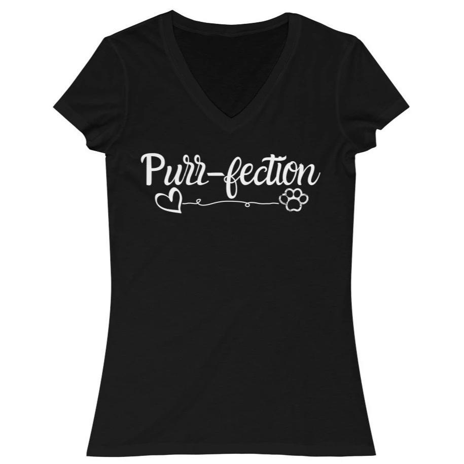 Womens Cat Shirts, Funny Cat Tee Shirt Featuring the Word Purrfection Printed On the Front