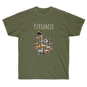 Funny Cat T-Shirt with the Words Purramid Printed On The Front
