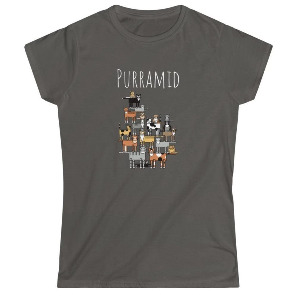 Funny Cat Lover Shirts, Cat Lady T-Shirt With Cats and The Word Purramid Printed On The Front