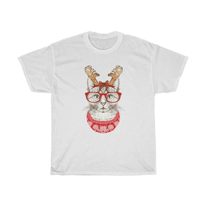 Cat Themed Gifts for Her, Christmas Cat Shirt Decorated with a Cat Wearing Glasses and Antlers