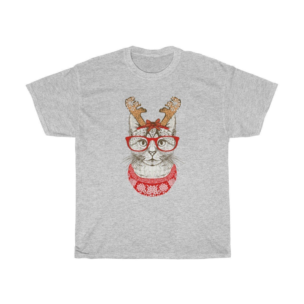 Christmas Presents for Cat Lovers, Reindeer Cat Christmas T-Shirt Featuring a Cat with Glasses and Antlers