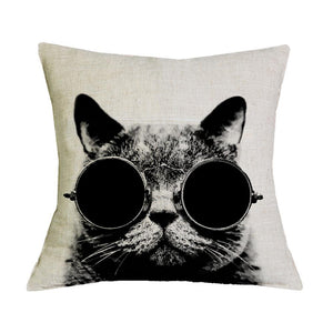 Cat Face Pillow, Decorative Cat Pillow Featuring A Cat Wearing Glasses