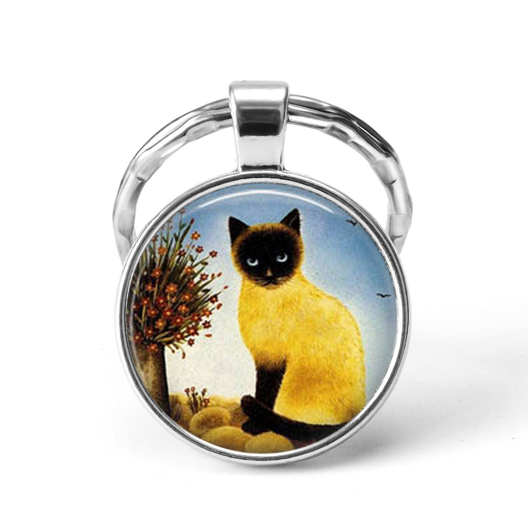 Cute Cat Keychain Featuring a Siamese Cat