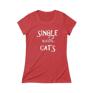 Crazy Cat Lady Clothes, Funny Cat T-Shirt Featuring the Text Single with Cats Printed Across the Front