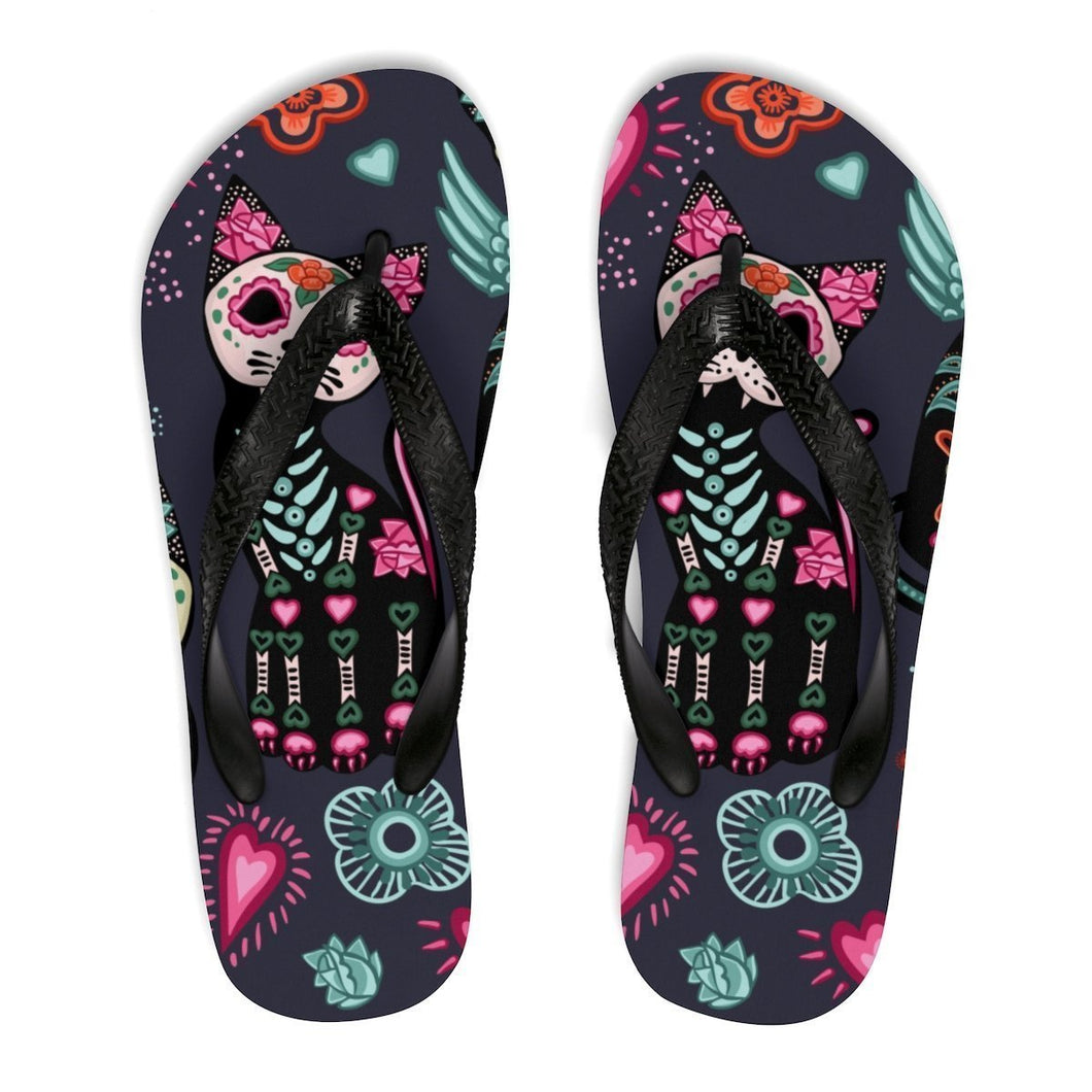 Women's Cat Shoes, Cute Cat Flip Flops Featuring Skeleton Cats Hearts and Flowers