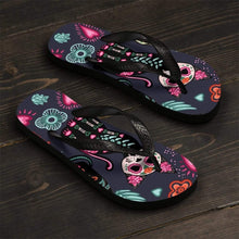 Load image into Gallery viewer, Shoes with Cats for Cat Lovers, Skeleton Cat Flip Flops Featuring Colorful Cats Hearts and Flowers