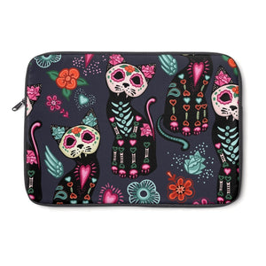 Cool Gifts for Cat Lovers, Cat Laptop Sleeve Featuring Colorful Skeleton Cat Print