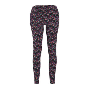 Cat Themed Clothing, Cat Leggings Featuring Skeleton Cats Printed On a Grey Fabric