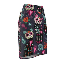 Load image into Gallery viewer, Fun Clothes for Cat Ladies, Cat Skirt Printed with Cool Skeleton Cats