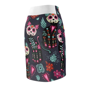 Cat Clothes for Women, Knee High Cat Skirt Featuring Colorful Skeleton Cat Print