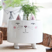 Load image into Gallery viewer, Cat Related Gifts, Cute White Ceramic Standing Cat Flower Pot