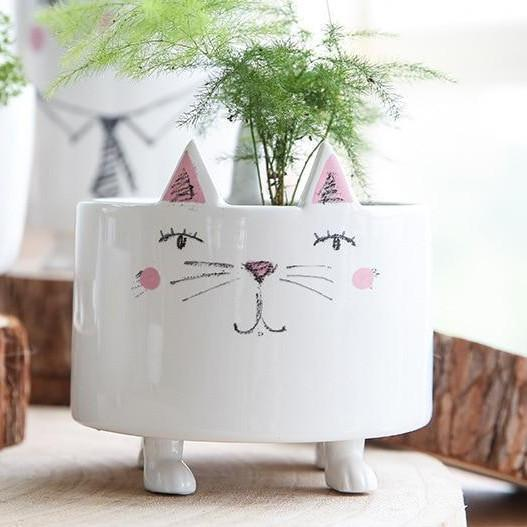 Cat Related Gifts, Cute White Ceramic Standing Cat Flower Pot