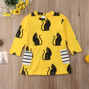 Cat Clothes for Girls, Girls Black Cat Dress Featuring Cats Printed on a Yellow Cotton Fabric