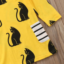 Load image into Gallery viewer, Girls Cat Dress with Black Cat Print on a Yellow Fabric