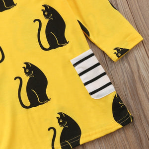 Girls Cat Dress with Black Cat Print on a Yellow Fabric