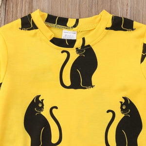 Dress with Cats for Girls Decorated with Black Cat Print on a Vibrant Yellow Fabric
