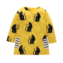 Load image into Gallery viewer, Girls cat dress decorated with black cats printed on a bright yellow cotton fabric