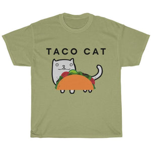 Funny Cat Shirt Featuring a Taco Cat Printed On the Front
