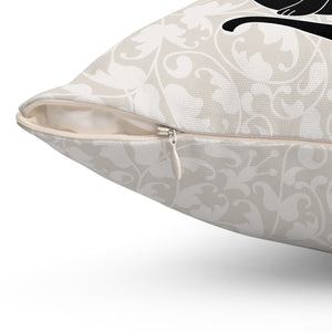 This black cat pillow case features a zipper so you can easily wash it and keep it clean.