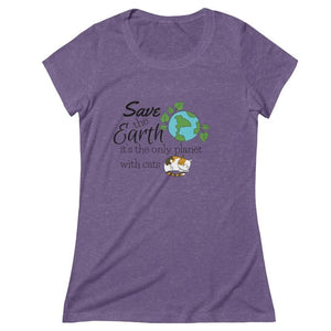 Funny Cat Shirt With The Phrase  Save The Earth It's The Only Planet With Cats On The Front
