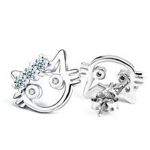 Load image into Gallery viewer, Cat Earrings, Tiara Cat Studs