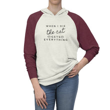 Load image into Gallery viewer, Funny Gifts for Cat Lovers, Cat Sweatshirt with the Phrase When I Die The Cat Gets Everything Printed On The Front