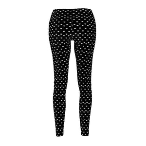 Clothes for Cat Ladies, Black Cat Leggings Printed With Cute White Cat Faces