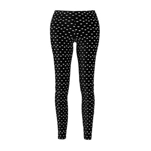 Clothes with Cats On Them for Cat Lovers, Black Cat Leggings Printed with Cute White Cats