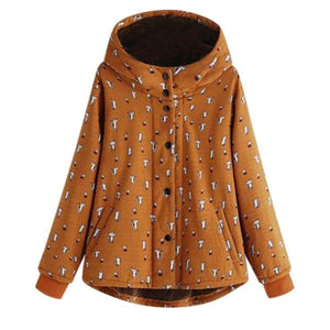 Women's Cat Print Coat