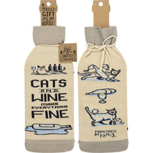 Load image into Gallery viewer, Cat Themed Wine Bottle Sock