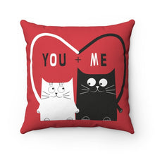 Load image into Gallery viewer, Cat Home Decor, Decorative Cat Pillows, You and Me Black Cat White Cat Pillow