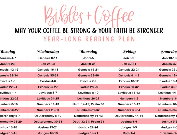 365 Day Chronological Reading Plan (Digital Download) - Bibles and Coffee