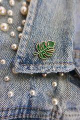 Monstera Leaf Enamel Pin - Bibles and Coffee