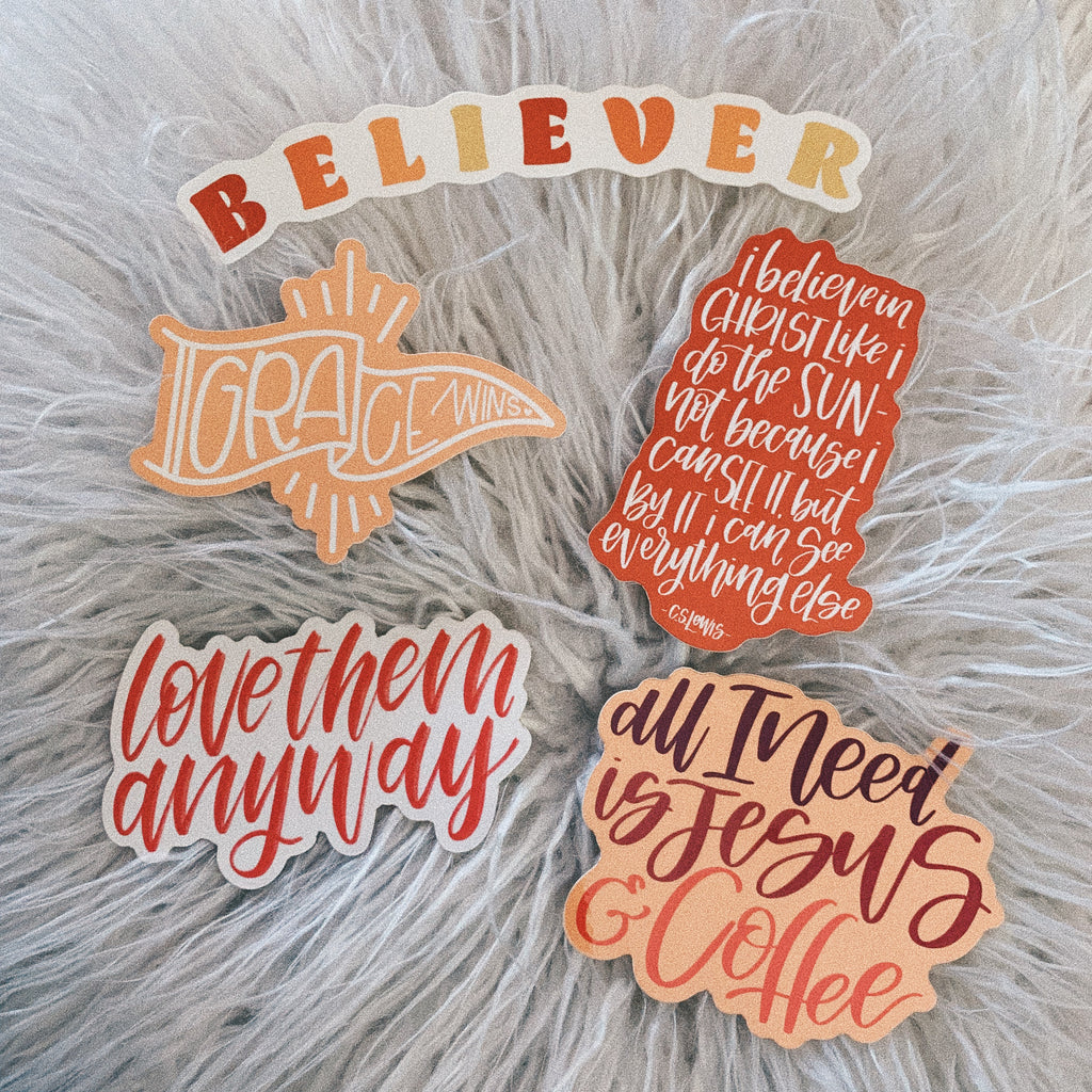 Neutral Sticker Collection (5 pack) - Bibles and Coffee