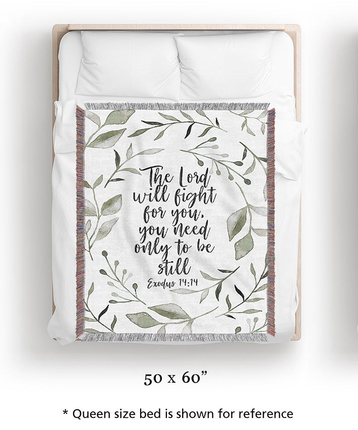 Lord Will Fight For You Woven Blanket