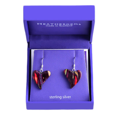 Quirky Heart Heather Sterling Silver Drop Earrings