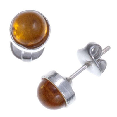 St Justin Amber Gemstone Stud Earrings