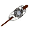 Triple Moon Hairslide Moonstone with wooden pin