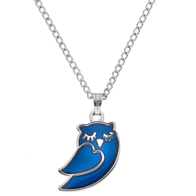 Sea Gems Sleepy Owl Mood Necklace C526