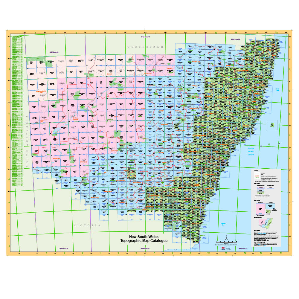 Map Of Nsw And Victoria Australia.Topographical Maps Nsw Dept Lands