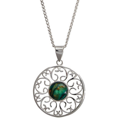 Ochil Decorative Silver Plated Heathergem Pendant - HP87