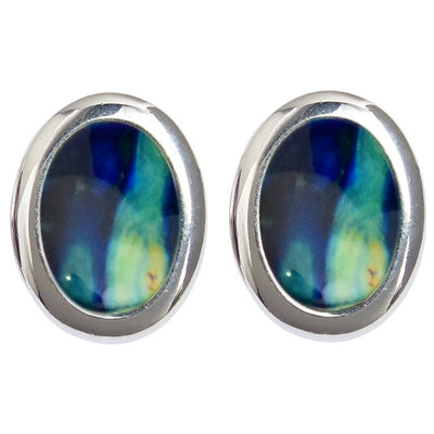 Oval Silver Plated Clip Earrings - HE20C