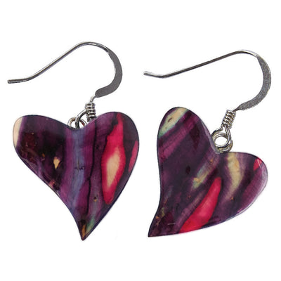 Heathergems Quirky Heart Heather Sterling Silver Drop Earrings