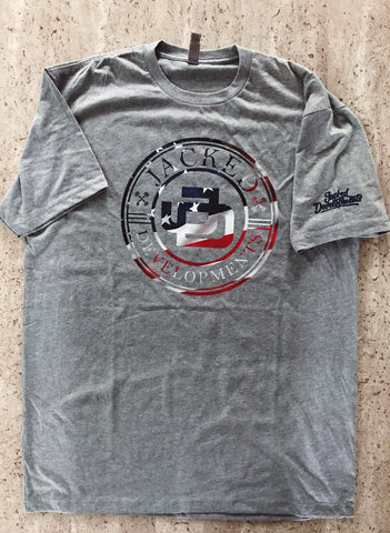 American Flag Jacked Developments Grey T shirt