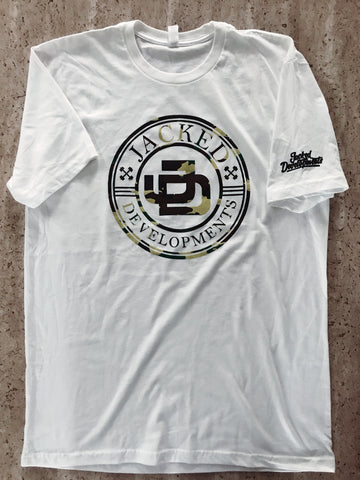 Camo Jacked Developments White T Shirt