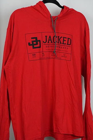 Jacked Long Sleeve Hoodie- Red